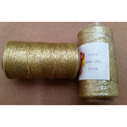 BOBINA HILO ENCERADO MINI 1mm 50mt.metalizado.GOLDEN